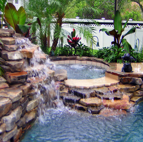 In Ground Pool Waterfalls